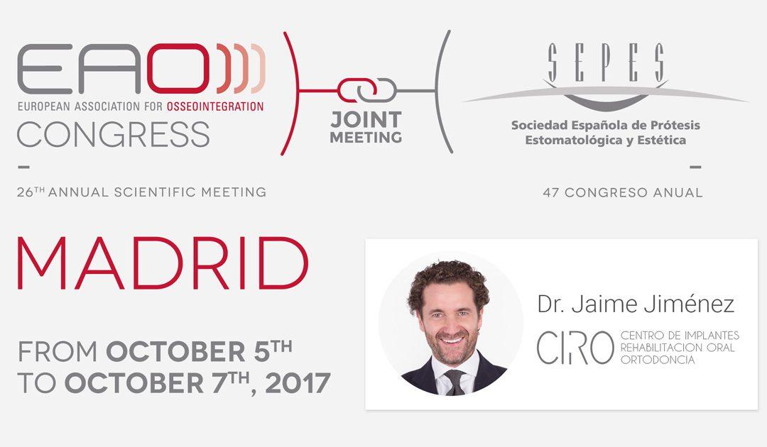El Dr. Jaime Jiménez participa hoy en el congreso más relevante del año: EAO-SEPES 2017