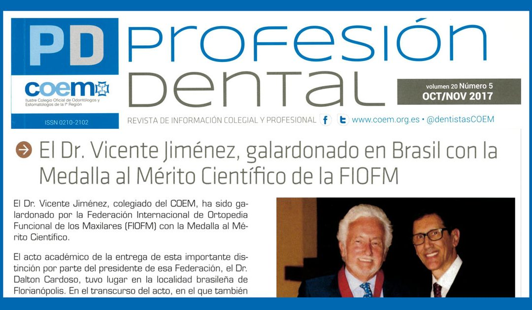 El COEM habla en su revista de la medalla recibida por el Dr. Vicente Jiménez